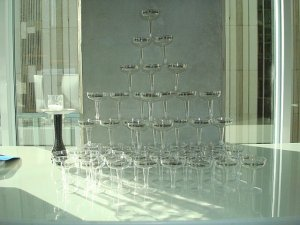 champagne glass tower